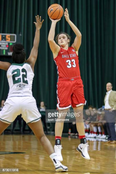 Ball State Cardinals forward Moriah Monaco shoots over Cleveland State Vikings forward Anyia Pride during the first quarter of the women's college...
