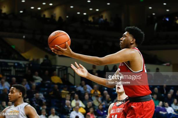 Ball State Cardinals forward Tahjai Teague goes in for a layup during a regular season basketball game between the Ball State Cardinals and the...