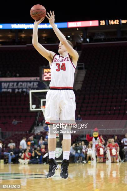 Ball State Cardinals G Sean Sellers shoots during the first half of the MAC mens basketball tournament game between the Western Michigan Broncos and...