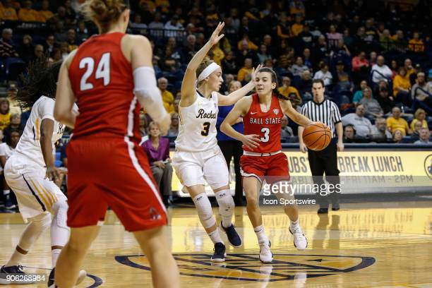 Ball State Cardinals guard Carmen Grande drives to the basket against Toledo Rockets guard Mariella Santucci during the first half of a regular...