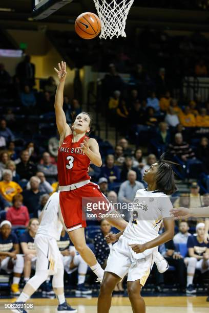 Ball State Cardinals guard Carmen Grande goes in for a layup during the first half of a regular season MidAmerican Conference game between the Ball...