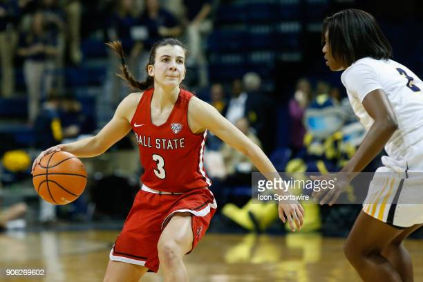 Ball State Cardinals guard Carmen Grande handles the ball during the first half of a regular season MidAmerican Conference game between the Ball...