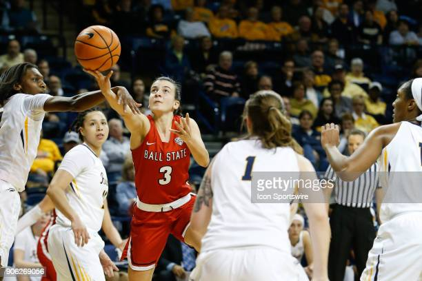 Ball State Cardinals guard Carmen Grande puts up a shot during the first half of a regular season MidAmerican Conference game between the Ball State...
