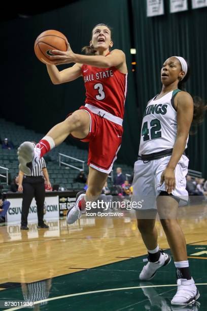 Ball State Cardinals guard Carmen Grande shoiots as Cleveland State Vikings guard Mariah Miller defends during the second quarter of the women's...