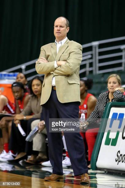 Ball State Cardinals head coach Brady Sallee during the second quarter of the women's college basketball game between the Ball State Cardinals and...