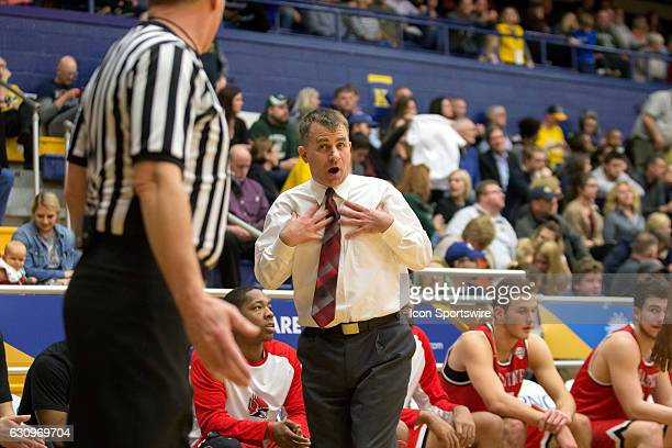 Ball State Cardinals head coach James Whitford pleads his case to an official during the first half of the NCAA Men's Basketball game between the...