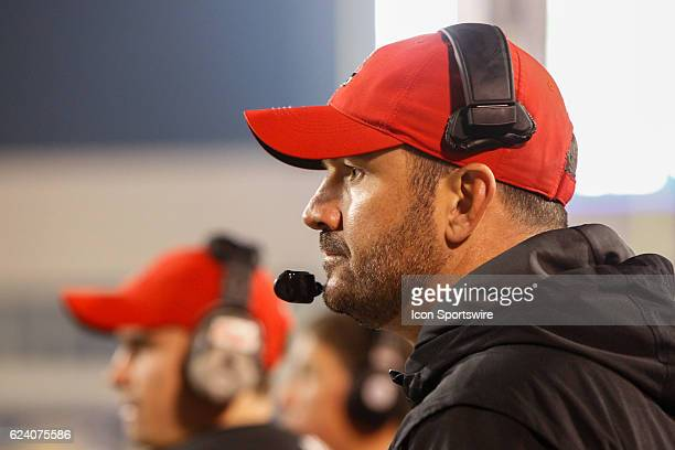 Ball State Cardinals head coach Mike Neu watches the action on the field during game action between the Ball State Cardinals and the Toledo Rockets...