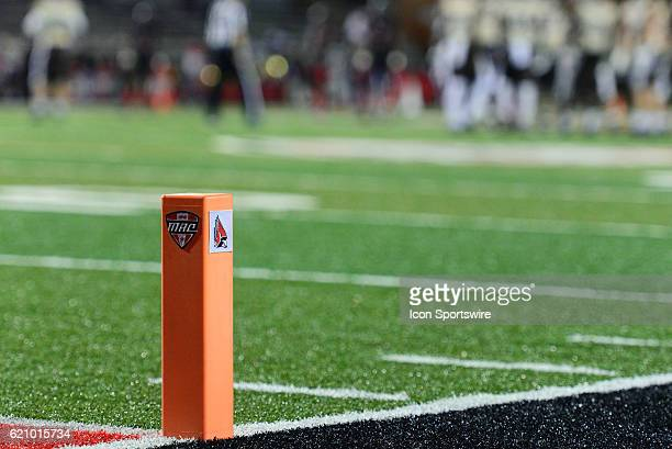 Ball State Cardinals logo on the pylon sits at the goal line during the Mid-American Conference football game on November 1 at Scheumann Stadium in...