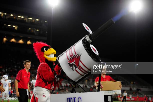 Ball State Cardinals mascot Charlie Cardinal shoots tshirts into the crowd during the college football game between the Central Connecticut State...