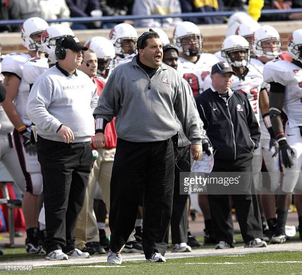 Ball State head coach Brady Hoke during the game between the Ball State Cardinals and the University of Michigan Wolverines at Michigan Stadium in...