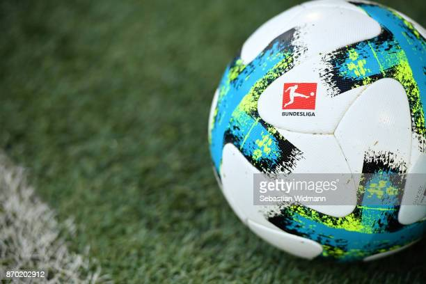 A ball with the Bundesliga logo is seen prior to the Bundesliga match between FC Augsburg and Bayer 04 Leverkusen at WWKArena on November 4 2017 in...