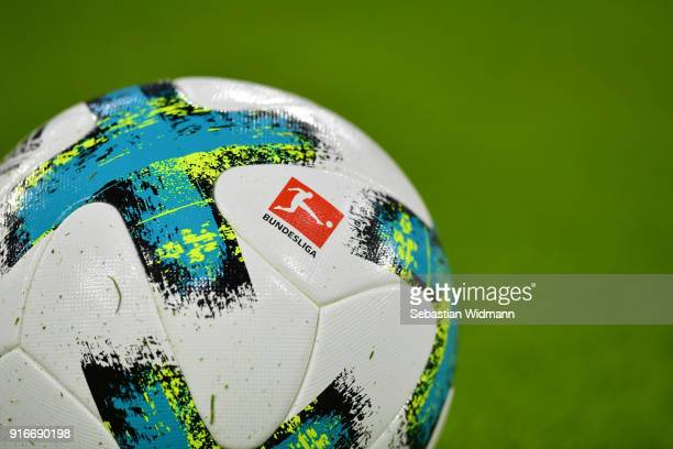 A ball with the logo of the Bundesliga is seen prior to the Bundesliga match between FC Bayern Muenchen and FC Schalke 04 at Allianz Arena on...