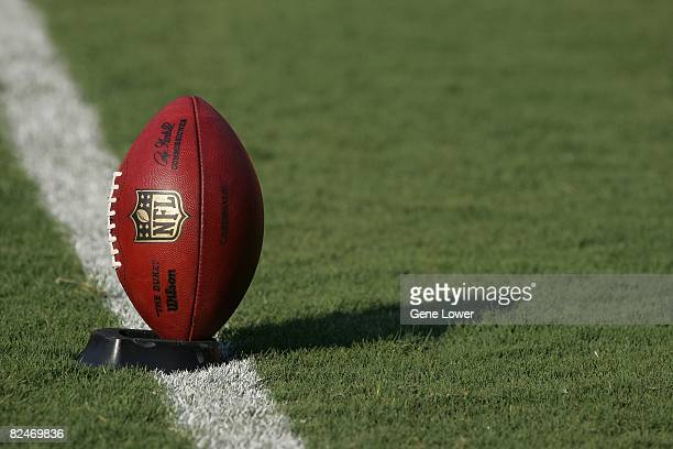 A ball with the new NFL shield logo on a tee before a game against the Kansas City Chiefs at Arrowhead Stadium in Kansas City Missouri on August 16...