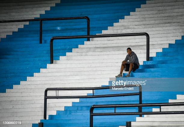 Ballboy waits in the empty stands of Presidente Peron Stadium prior to a Group F match between Racing Club and Alianza Lima as part of Copa CONMEBOL...