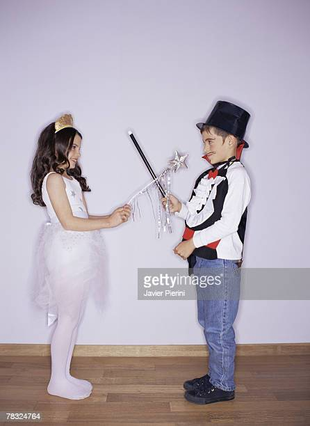 ballerina and magician - little girls dressed up wearing pantyhose stock photos and pictures