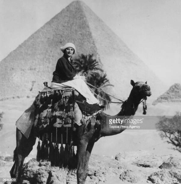 Ballerina Anna Pavlova riding a camel in Egypt