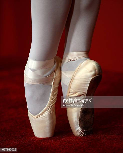 A ballerina ballet shoe detail arrives at a screening of Hallmark Channel's 'A Nutcracker Christmas' at The Grove on December 5 2016 in Los Angeles...