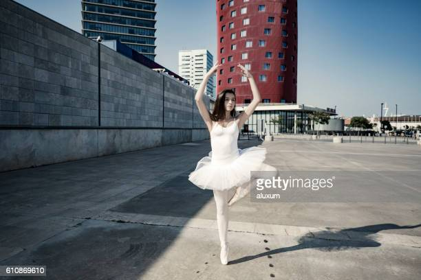 Ballerina dancing in the city
