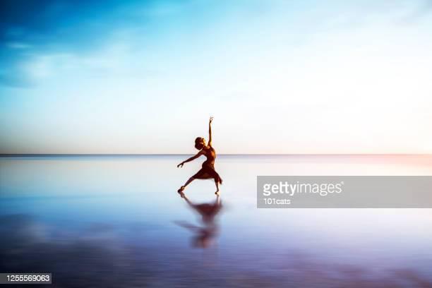 ballerina dancing on the lake - arte, cultura e espetáculo imagens e fotografias de stock