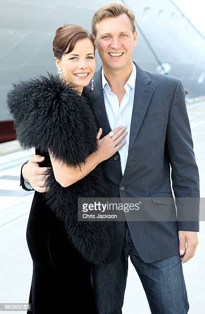 Ballerina Darcey Bussell poses for a photograph with her husband Angus Forbes as she is named as 'Godmother' to PO's latest cruise ship Azura at...