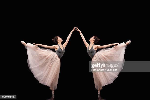 Ballerina gracefully posing ballet