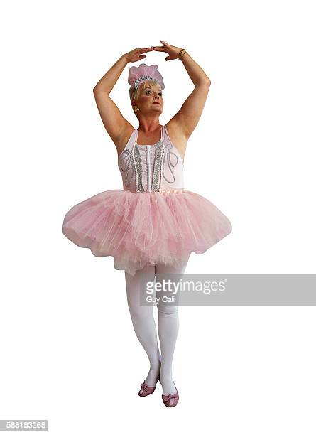 ballerina in pink tutu - old women in pantyhose stock photos and pictures