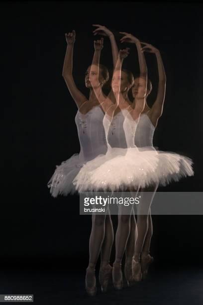 Ballerina in studio on a black background.Multiple exposure