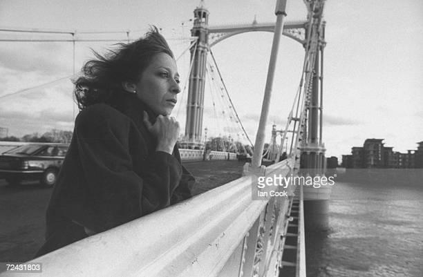 Ballerina Jolinda Menendez mourning the death of her exhusband ballet dancer Patrick Bissell as she stands on Albert Bridge looking longly across the...