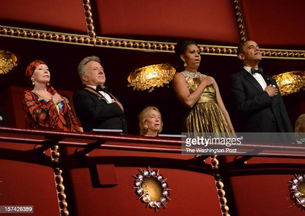 Ballerina Natalia Makarova actor Dustin Hoffman First Lady Michelle Obama and President Barack Obama during the national anthem at the 35th Annual...