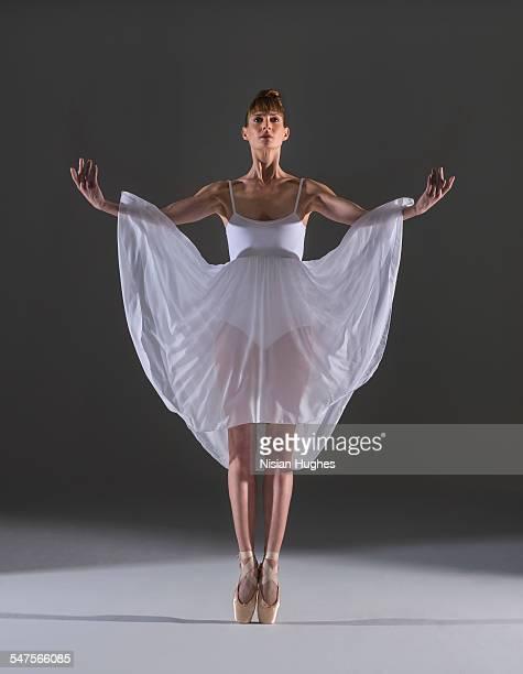 ballerina on pointe in studio