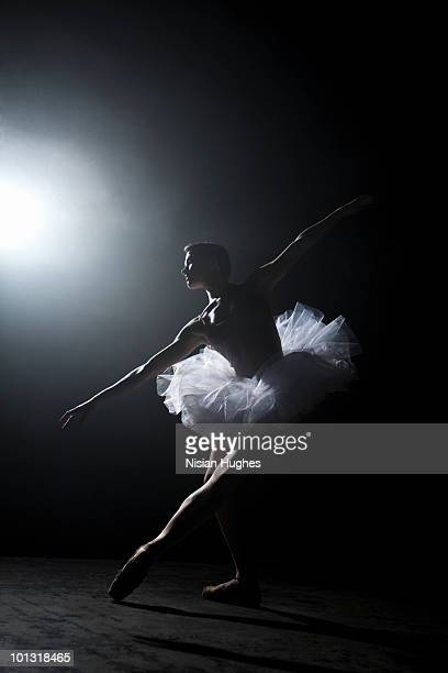 ballerina performing on stage under spotlight
