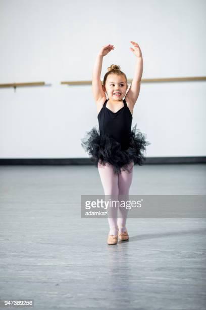 Ballerina Practicing in Dance Studio