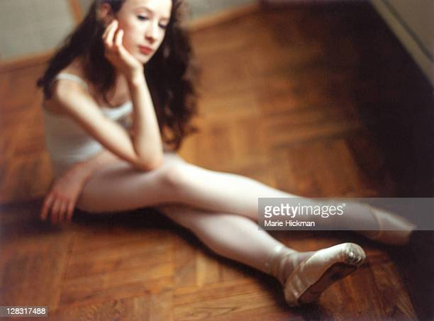 ballerina sitting on the floor - teen pantyhose stock photos and pictures