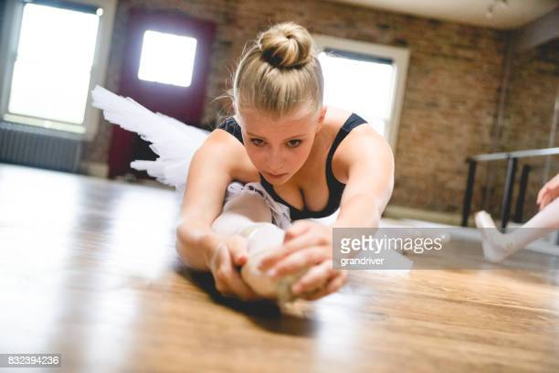 ballerina stretching on the floor - isometric projection stock photos and pictures