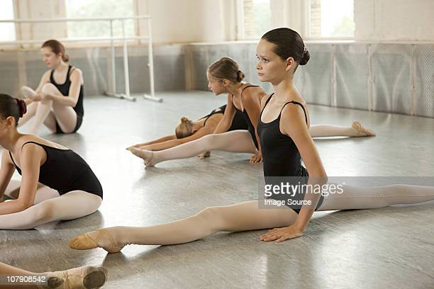 ballerinas doing the splits - teen girls in tights stock photos and pictures
