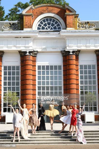 Ballerinas of The English National Ballet create a balletic tableau dressed in couture in the grounds of Kensington Palace to launch The English...