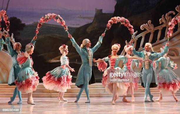 Ballerinas perform during a dress rehearsal of David McAllister's production of The Sleeping Beauty on June 15 2017 in Melbourne Australia The...