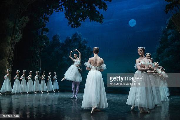 Ballerinas perform during a 'Giselle' dress rehearsal before the first official show on May 6 2015 in Johannesburg as the St Petersburg Ballet...