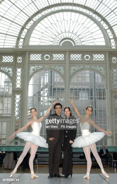 Ballerina's Tara Bhavani and Laura McCulloch flank Principal Ballerina Darcey Bussell and tenor Rolando Villazon during a photocall at the Royal...