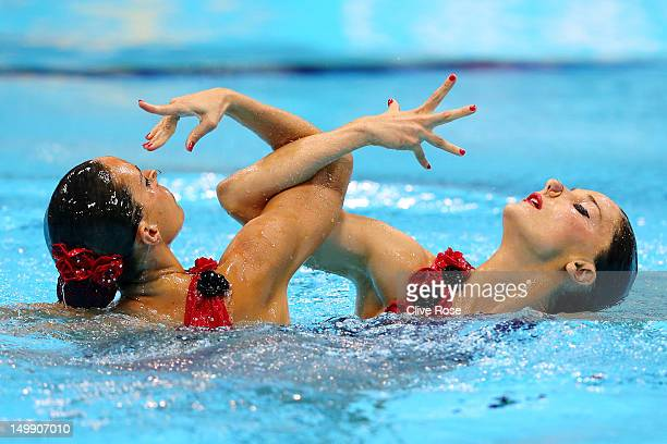 Ballestero Carbonell and Andrea Fuentes Fache of Spain compete in the Women's Duets Synchronised Swimming Free Routine Preliminary on Day 10 of the...