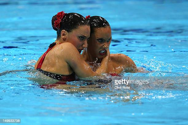 Ballestero Carbonell and Andrea Fuentes Fache of Spain compete in the Women's Duets Synchronised Swimming Free Routine Final on Day 11 of the London...
