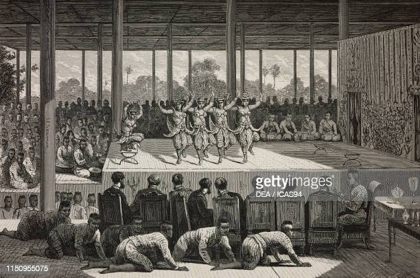 Ballet at the King's Court Phnom Penh Cambodia engraving from a sketch by Delaporte from Voyage d'exploration en IndoChine effectue pendant les...