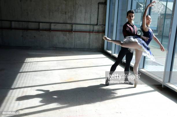 Ballet Central dancers from The Nutcracker Moeno Oda and Adam Davies pose in vibrant costumes in raw new building in SE1 as Central School of Ballet...