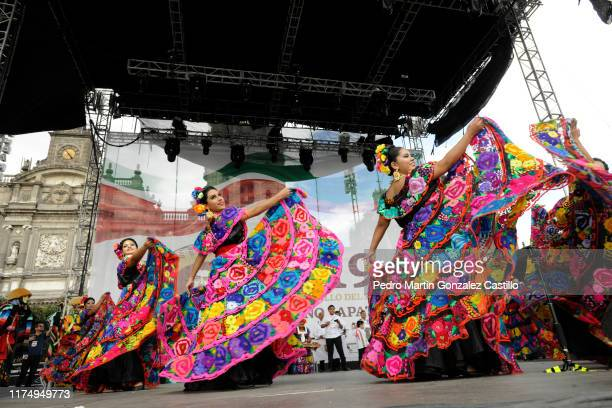 Ballet Chiapas during the celebrations of Mexico's Independence Day at Zocalo on September 15 2019 in Mexico City Mexico This event also known as 'El...