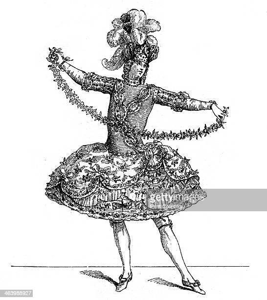 Ballet Costume Illustration from 18th Century Institutions Usages And Costumes France 17001789 by Paul Lacroix