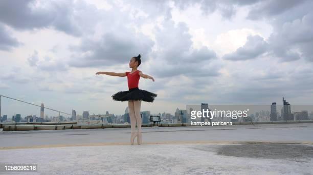 Ballet cute girl dancer in black tutu posing on rooftop.