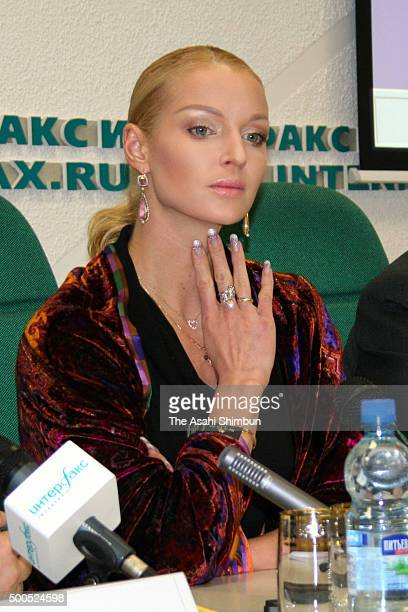 Ballet Dancer Anastasia Volochkova attends a press conference on January 24 2006 in Moscow Russia