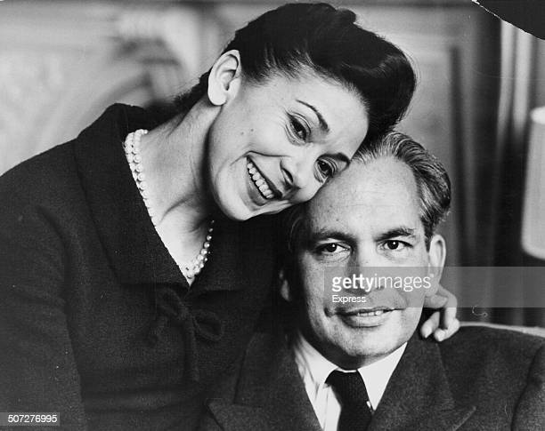 Ballet dancer Dame Margot Fonteyn and her husband Dr Robert Arias pictured at home following his release from hospital after being shot Stoke...