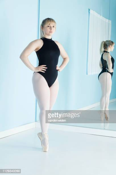 ballet dancer getting ready - full length mirror stock photos and pictures