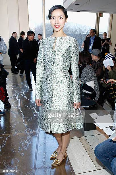 Ballet dancer Hou Honglan attends the Tory Burch fashion show during MercedesBenz Fashion Week Fall 2014 at Avery Fisher Hall at Lincoln Center for...